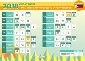2018 Calendar Philippines 13 Weekends In The Philippines In 2018