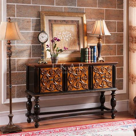 antique wood console table narrow console table wood carved antique drawer