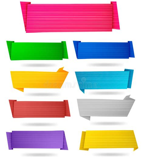 Origami Paper Set - set of origami paper banners vector royalty free stock