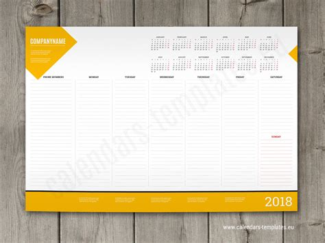 desk templates 2018 weekly desk pad planner template with yearly calendar