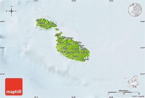 physical map of malta physical map of malta lighten