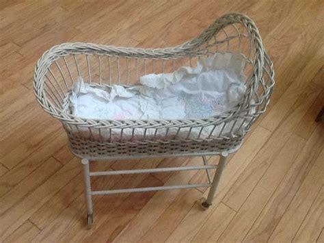Plastic Doll Crib by Antique Wicker Small Doll Crib W Orig Plastic Wheels