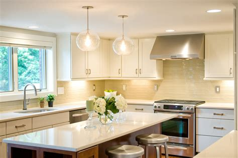 bright kitchen lights light kitchen transitional with cream tile backsplash