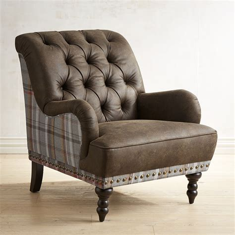 Plaid Armchair by Chas Earth Brown Plaid Armchair Goodglance
