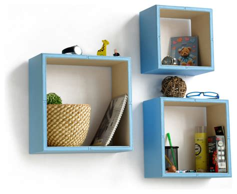 Pure Blue White Square Leather Wall Shelf Floating Square Floating Shelves