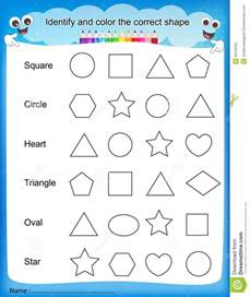identify color shapes worksheets for kindergarten printable preschool