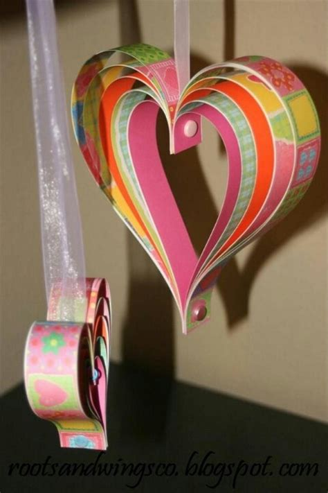 Paper Craft Hearts - layered paper hearts craft ideas