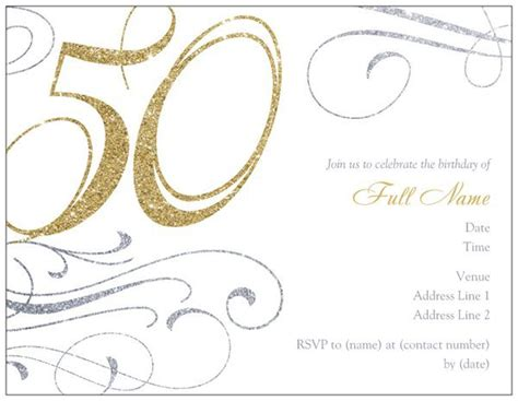 50th birthday card template 50th birthday invitation templates free printable a