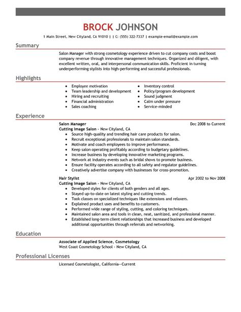 Day Spa Manager Sle Resume by Best Salon Manager Resume Exle Livecareer