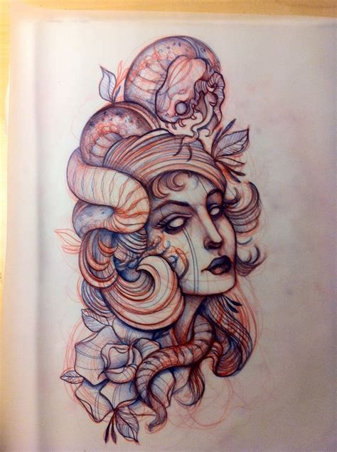 girl snake tattoo designs snake sketch ladys oldschool