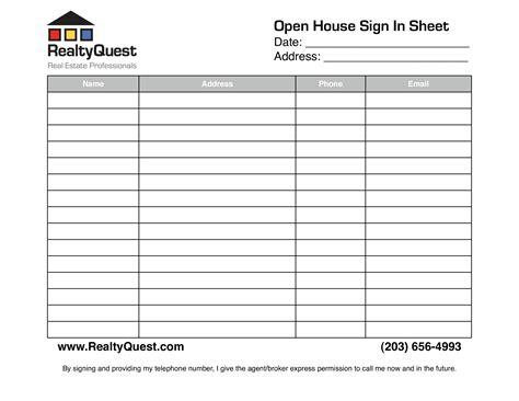 Free Real Estate Open House Sign In Sheet Templates At Allbusinesstemplates Com Real Estate Pdf Template