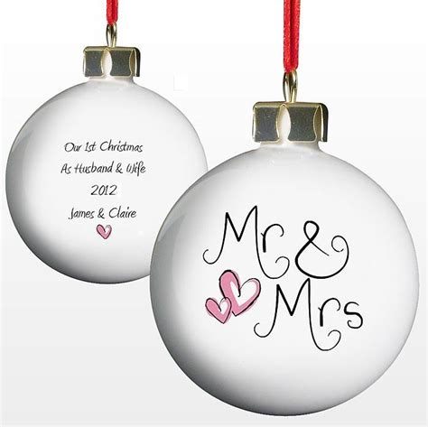 personalised mr mrs christmas bauble by british and