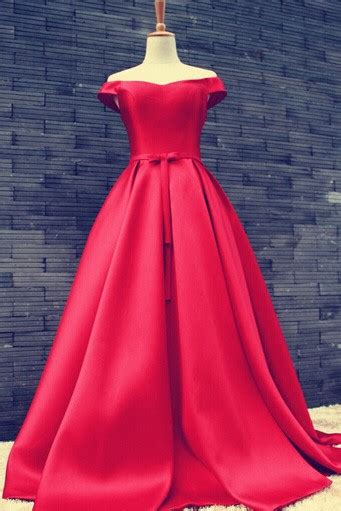 womens red   shoulder satin ball gown prom evening