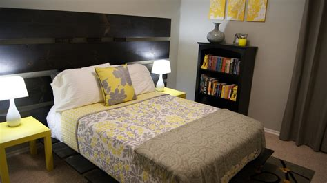 Yellow And Grey Bedroom | living small yellow and gray bedroom update