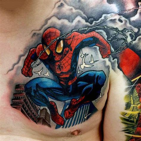 spiderman chest tattoo 100 design ideas for webs of ink