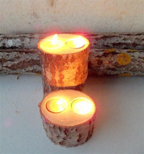 Table Candle Holders Centerpieces 2 Wood Candle Holders Table Centerpiece Wood Log