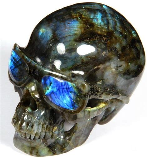 Carved Gemstone Polarized Sunglasses S1019 top quality blue flash glasses 4 8 quot labradorite carved skull with sunglasses skullis