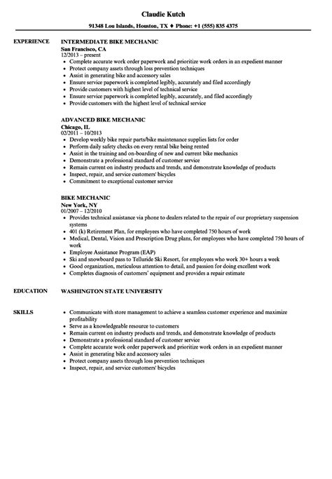 Mechanic Resume by Bike Mechanic Resume Sles Velvet