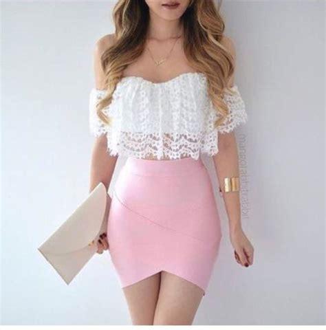 Lace Pink Crop Top Skirt Gaun Malam Dress Baju Pesta Import shirt white white lace lace ruffle white lace croptop crop tops white shirt ruffled top