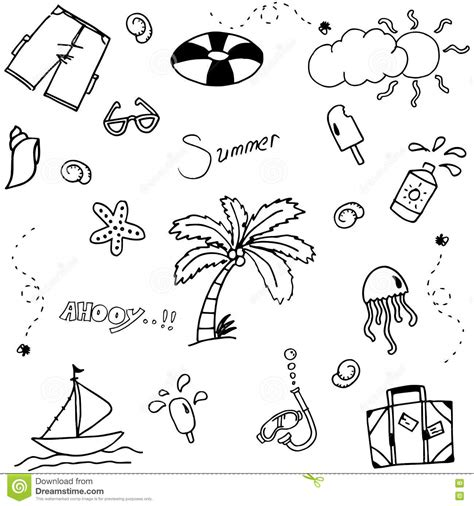 doodle less pool musicas set summer doodle vector stock vector image 72226831