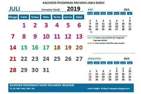 kalender pendidikan  pelajaran   versi excel sdn airlangga subang