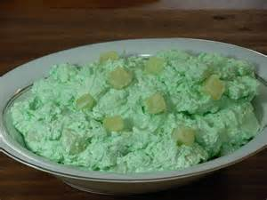 green jello salad with cheese and pineapple