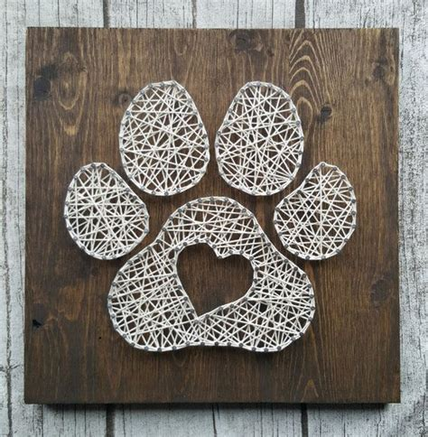 thread pattern with nails paw print heart string art hanger pine and lovers