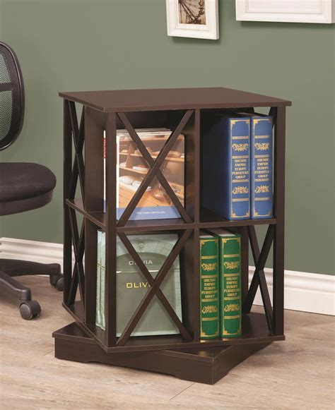 coaster 800348 swivel bookcase cappuccino 800348