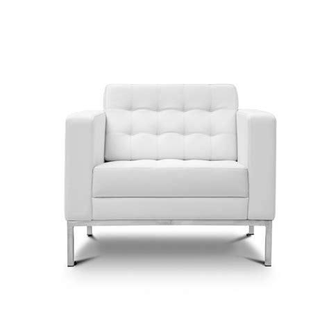 White Leather Lounge Chair by Piazza White Leather Lounge Chair