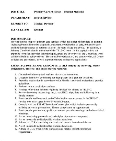 physician assistant description template 8 physician assistant description sles sle