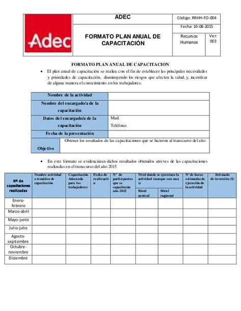 formato del plan anual de actividades 2012 picture formato plan anual de capacitacion