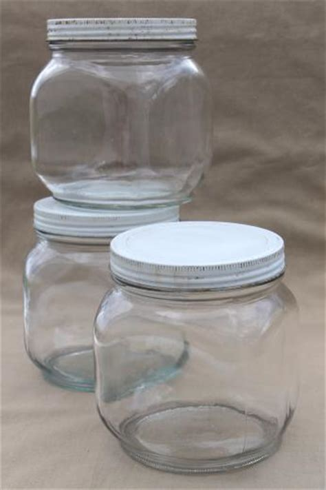 vintage glass pantry jars lot large glass jar canisters