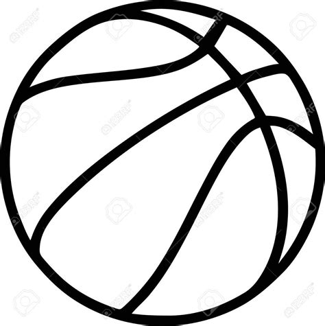 basketball clipart vector best hd basketball outline on white background stock