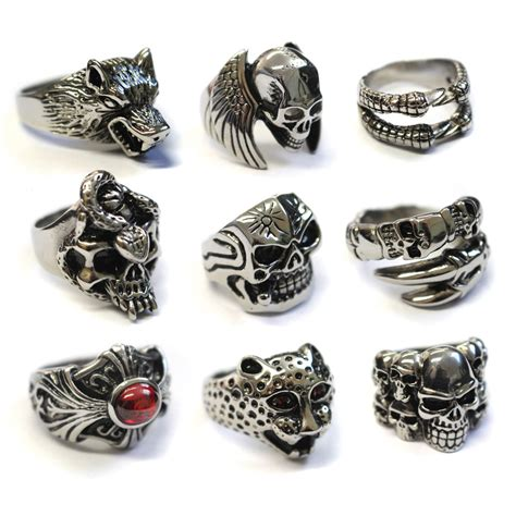 Cincin Pria Tengkorak Black Skull Titanium 316l Steel skull rings for unique gold skull related