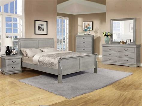 grey bedroom furniture set 5 pc louis phillipe grey bedroom set