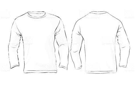 Mens Long Sleeved Tshirt Template White Color Stock Vector Art More Images Of Adult 509664221 Free Sleeve Shirt Template