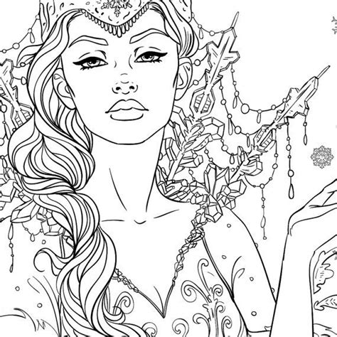 ice queen coloring page snow queen adult coloring page fantasy line art adult