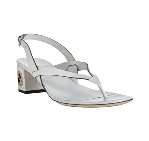 white gucci sandals gucci white leather gg sandals in white lyst
