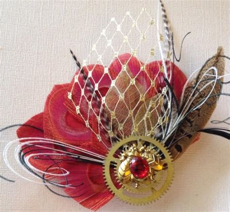 Black Red And Gold Peacock Fascinator You Fascinate Me So Pinter | sale steunk bumblebee red and gold peacock feather