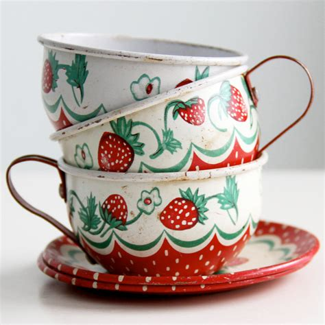 Classic Lovely Tea Sets by Vintage Wolverine Strawberry Tin Tea Set 1950 S
