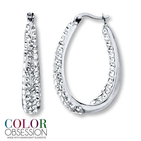 swarovski elements hoop earrings sterling silver