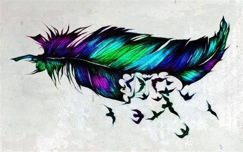 bird with colorful feathers feather with birds flying out on back