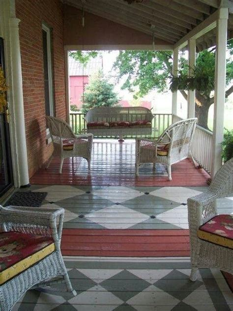 Painted Porch Floor by Splitting Narrow Porch Into Separate Seating Sections With Painted Rugs Painted Porch Floors
