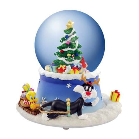 tweety sylvester christmas tree animated water snow globe