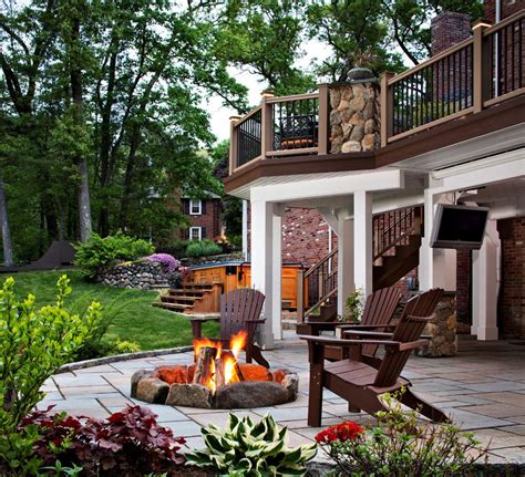 backyard off fire pit on wood deck fire pit design ideas