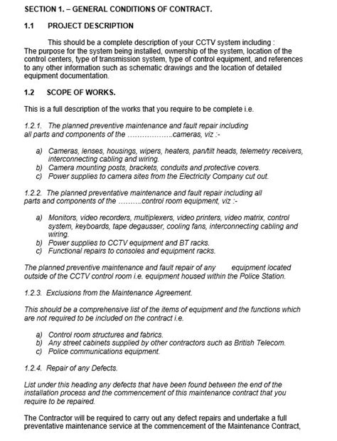 maintenance contract template free 9 free sle maintenance agreement templates printable