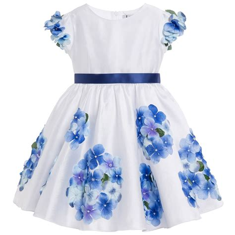 lesy luxury flower white satin dress with blue flowers