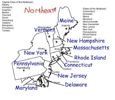 study map of us states and capitals east region states and capitals northeast region
