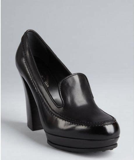 platform loafer pumps tod s black leather platform loafer pumps in black lyst