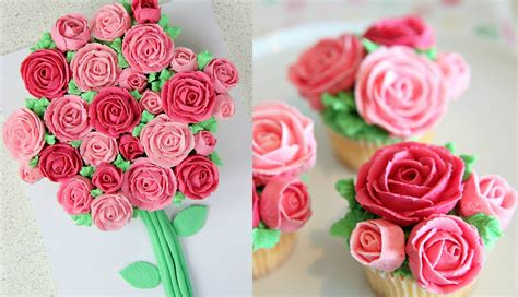 Floral Arrangement Ideas by Buttercream Roses Cupcake Bouquet Cake Style Amp Simply